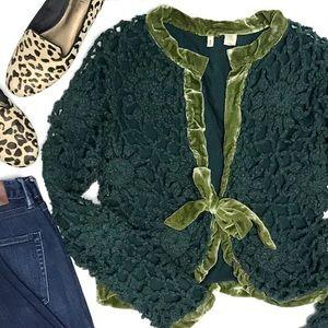 ANTHRO Moth Crochet Velvet Trim Cropped Cardigan